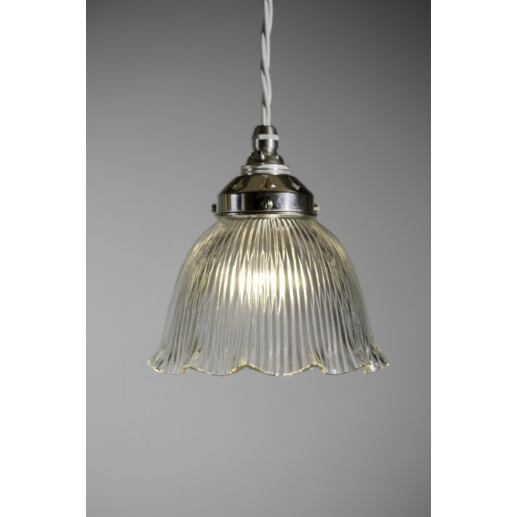 Pendant Drop with Prismatic Frilled Bell Shade